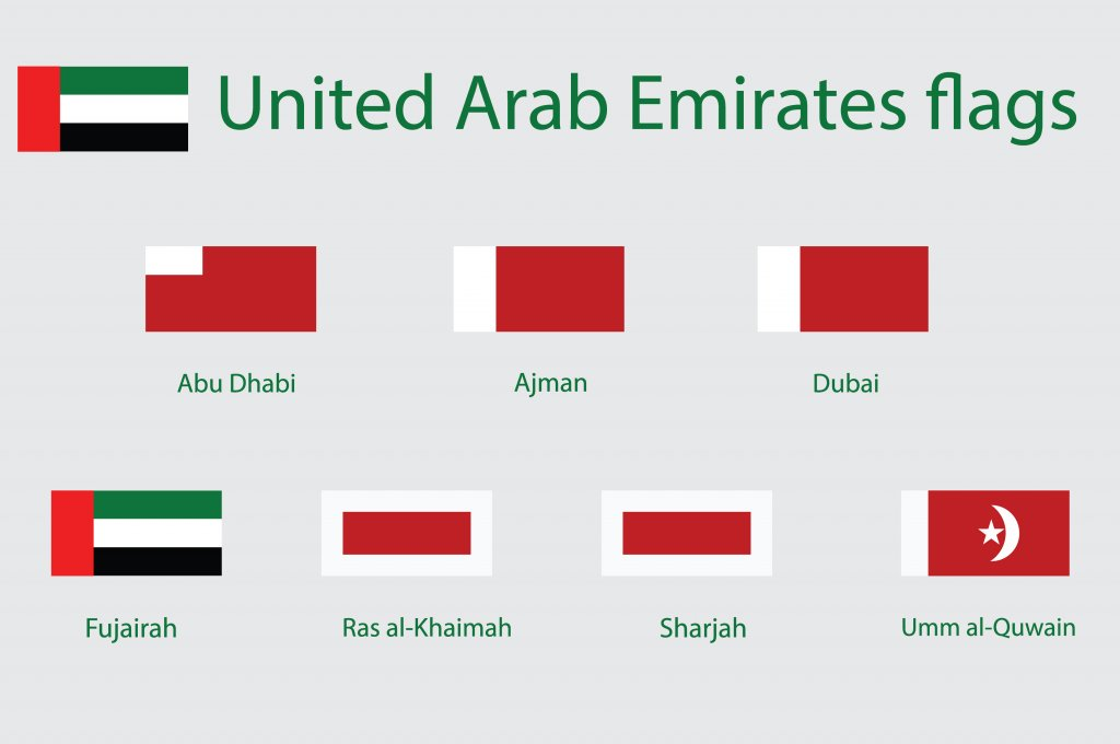 Flags of the individual Emirates of the UAE