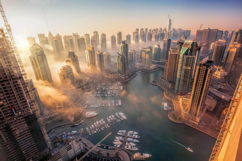 foggy view of Dubai Marina
