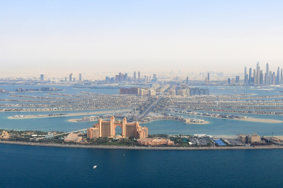 aerial vie over Atlantis the Palm and Palm Jumeirah