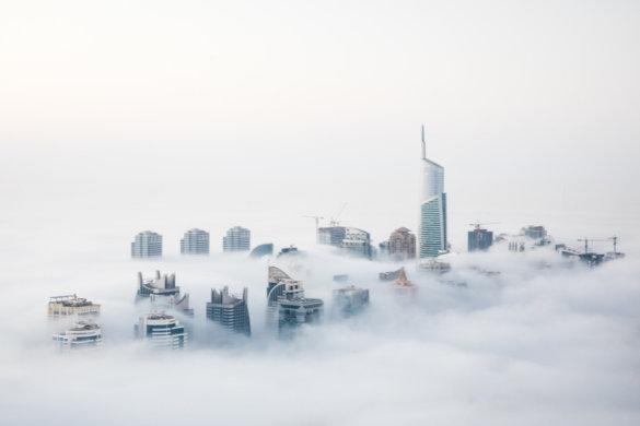 Foggy weather Dubai Skyscrapers