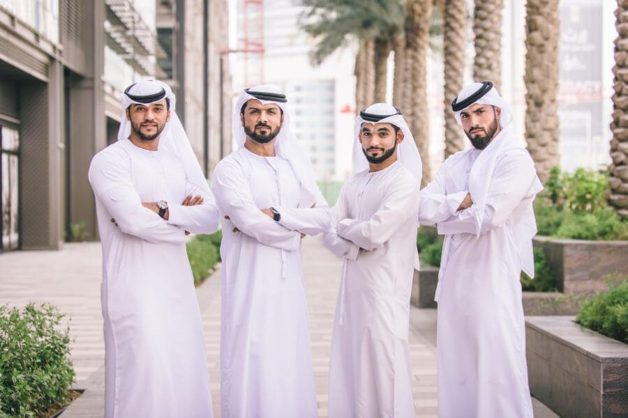 Emirati Men standing in Dubai