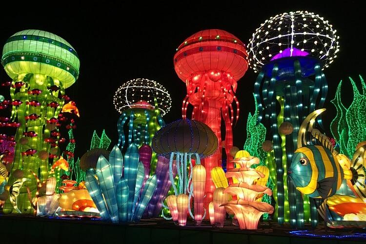 nightime underwater scene at Dubai Garden glow