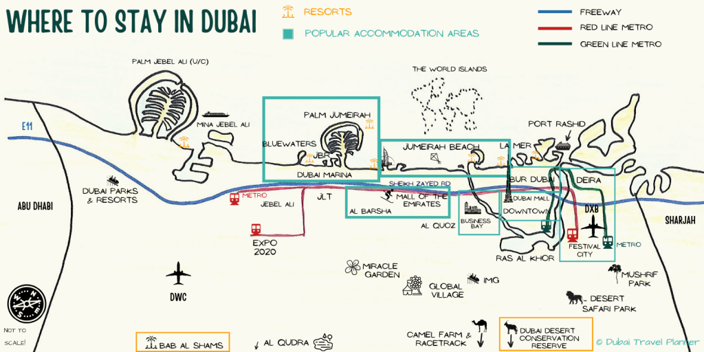 Where to stay in Dubai Accommodation Map