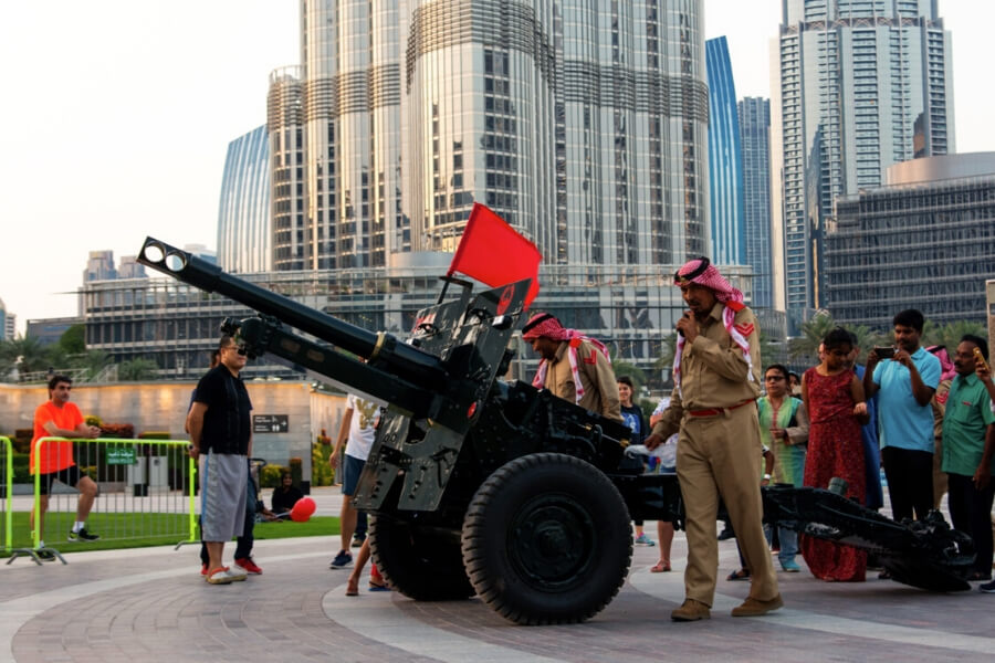 Firing of the canon for breaking of the fast Ramadan Burj Park Dubai