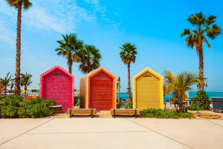 Colourful La Mer Beach Huts in Dubai