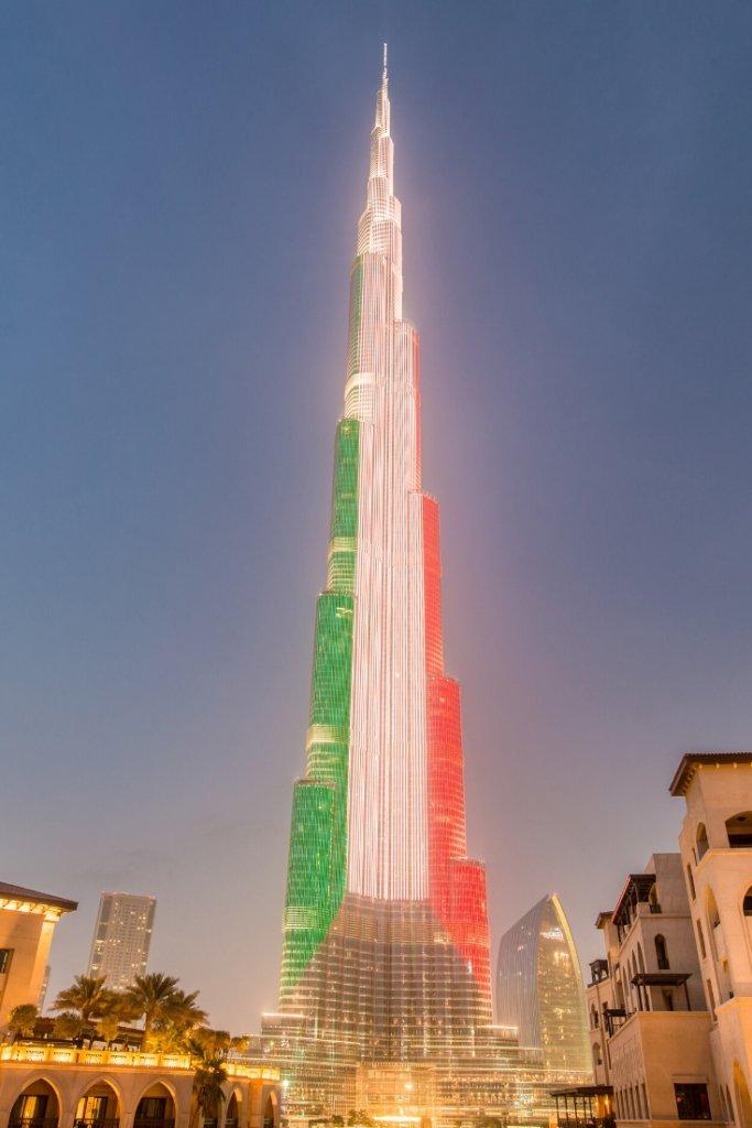 Burj Khalifa lit up in UAE national flag colours