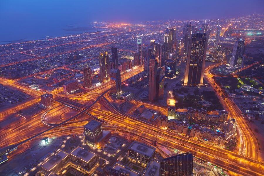 Night time view of Sheikh Zayed Road in Dubai taken from the Burj Khalifa