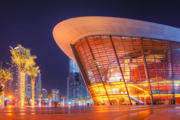 Dubai Opera House Downtown Dubai lit up at night