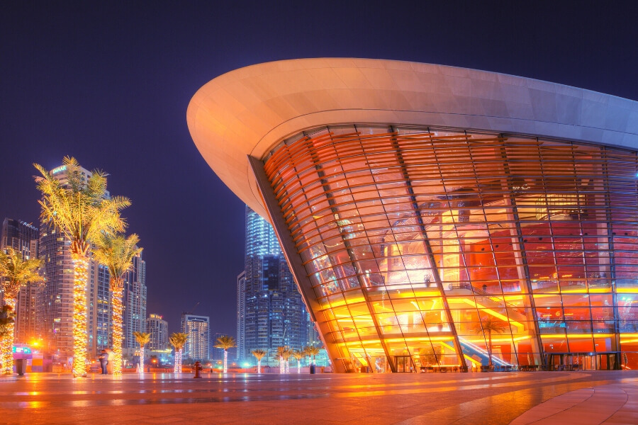 Dubai Opera House Downtown Dubai lit up at night