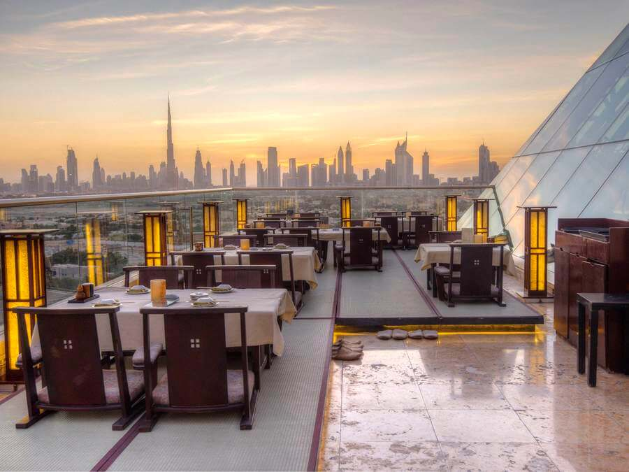 Rooftop view from the top of Raffles Dubai Tomo restaurant
