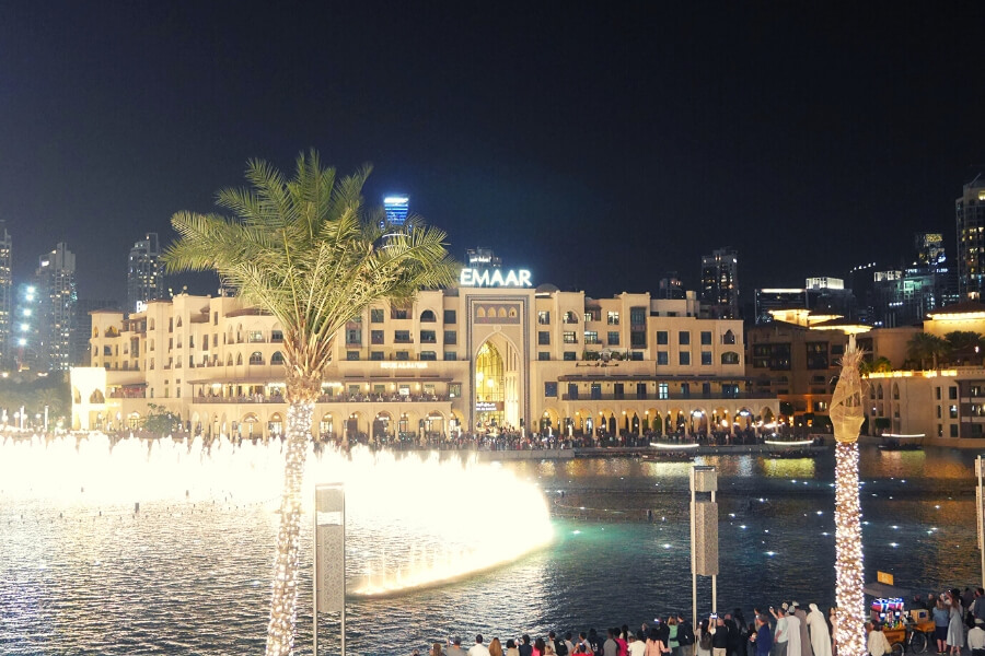 night view of the Dubai Fountains, taken from Dubai Mall back to Souk al Bahar