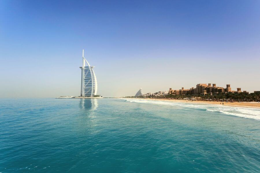 The Arabian Gulf water Dubai with the Burj Khalifa and Jumeirah Beach
