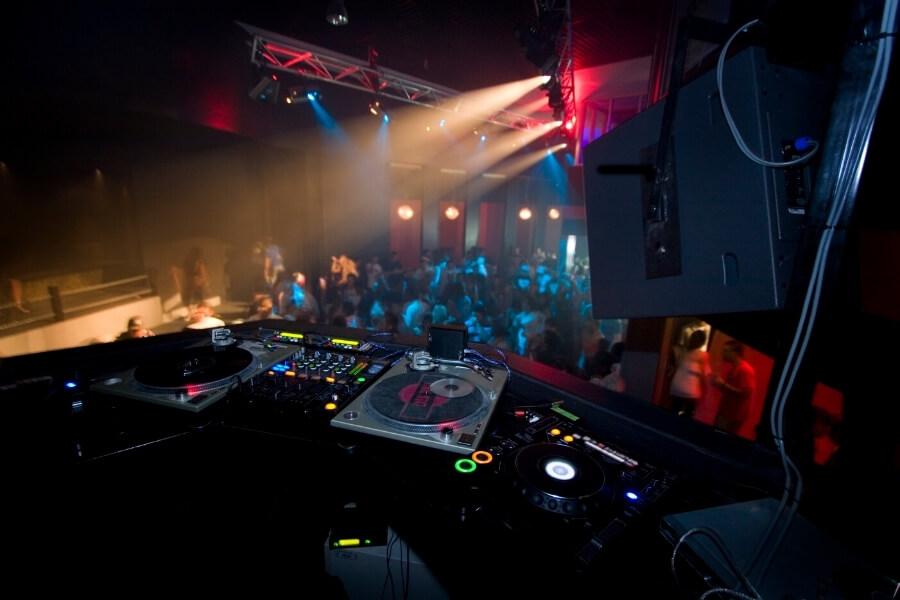 A DJ station in a nightclub