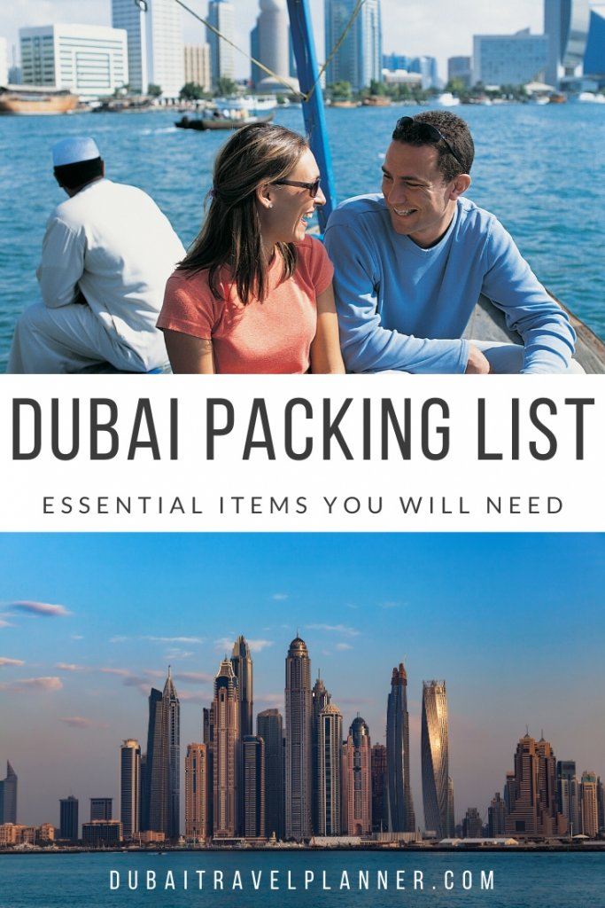 Couple on Dubai dhow boat and Dubai city Skyline, what to pack for Dubai