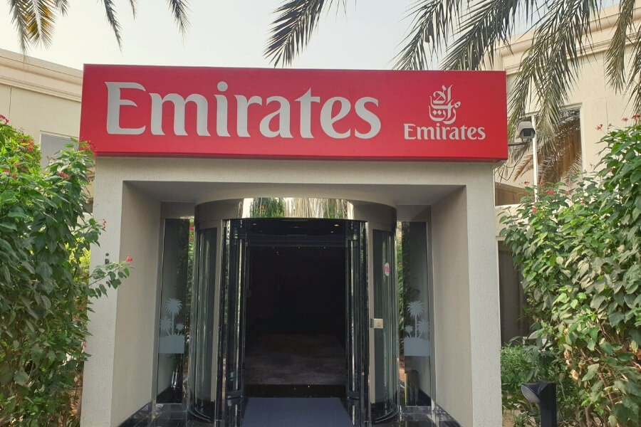Emirates checkin reception at Le Meridien hotel
