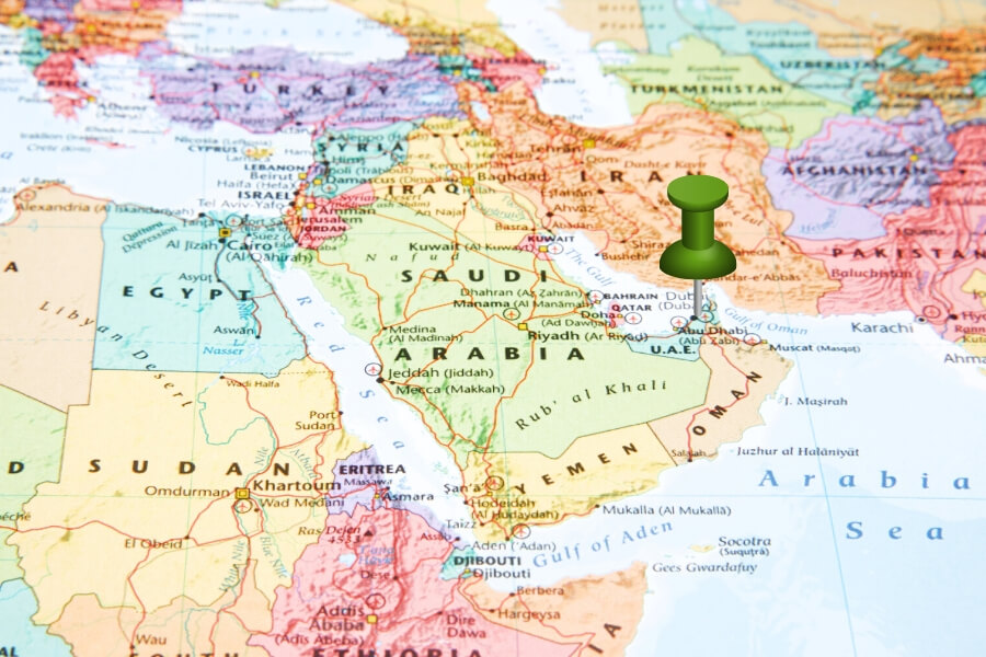 Middle East Map with a pin pointing to Dubai