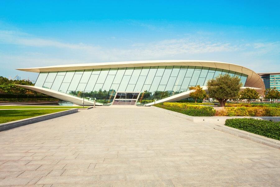 Outside of the Etihad Museum Dubai