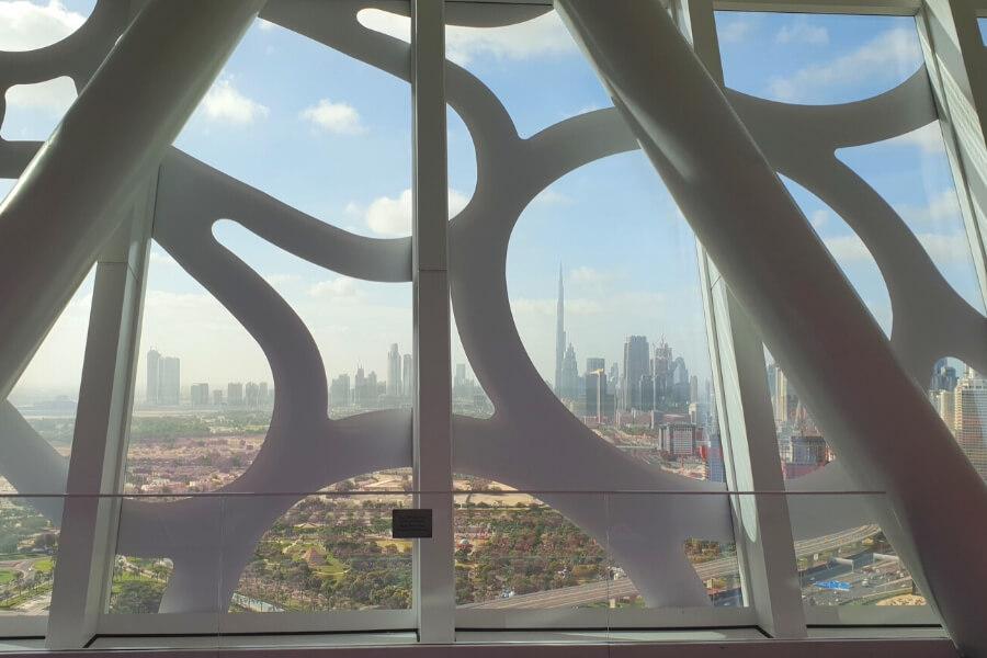 View through the Dubai Frame to modern Dubai