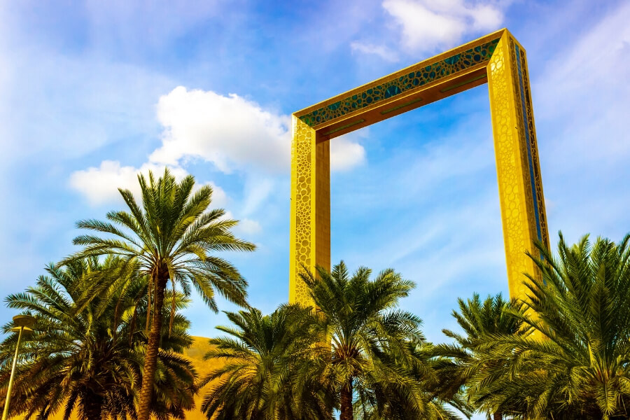 The Dubai Frame with Palm Trees - Dubai Landmark attraction