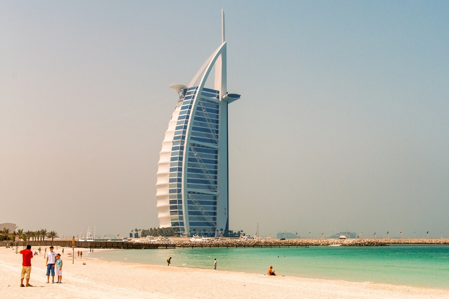 The Burj al Arab from sunset beach