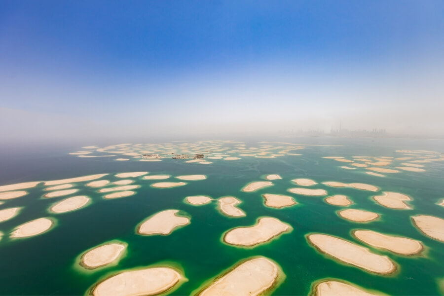 The World islands off the coast of Dubai in the Arabian Gulf