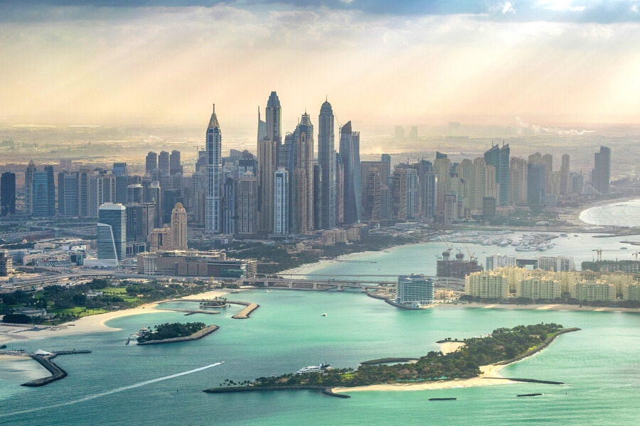 Ariel view from a helicopter of Dubai Marina and JBR