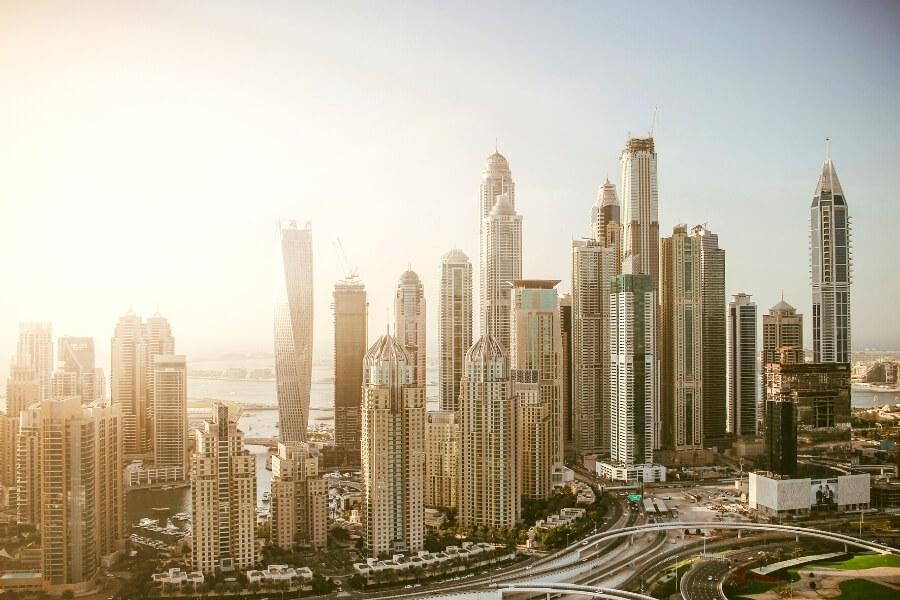 City skyline view of Dubai Marina