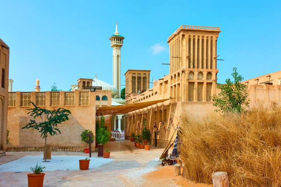 A view of Al Fahidi Historical Neighbourhood Dubai and old mosque