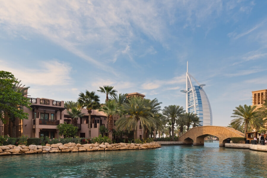 View of Burj Al Arab from Souk Madinat