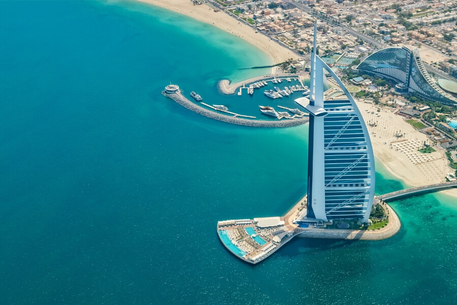 Burj Al Arab aerial view