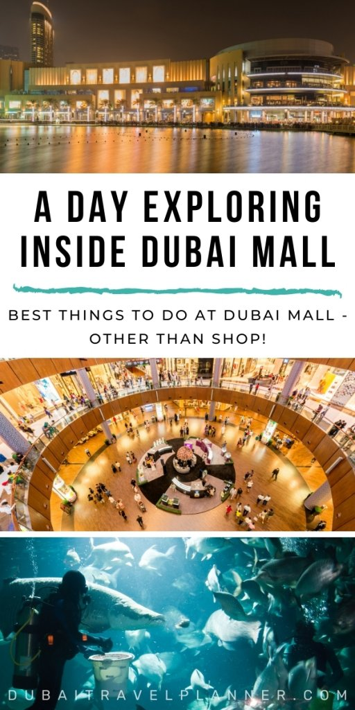 Images of the Dubai Mall inside and outside at night