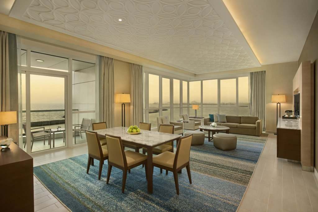 Living room of 3 bed hotel apartment Doubletree Hotel on The Walk Dubai
