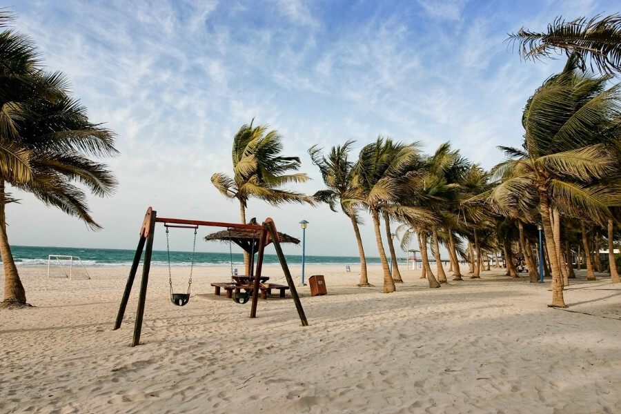 View of a quiet beach with palm trees blowing in the wind Dubai