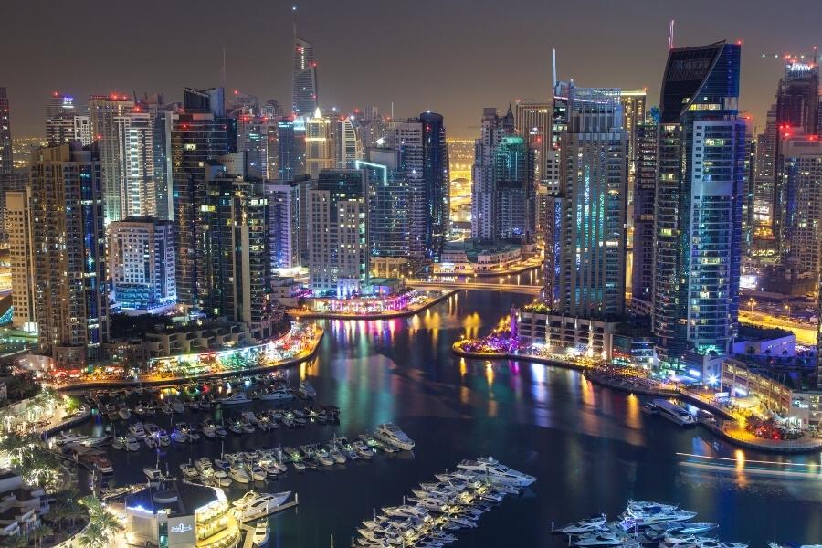 Night time view of the bars and restaurants around Dubai Marina, Dubai