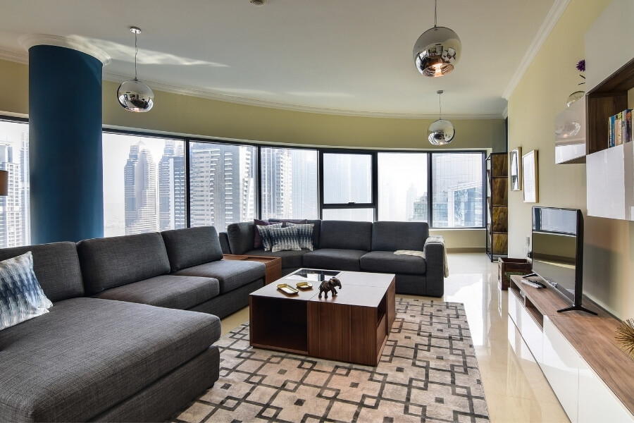 Inside a luxury dubai apartment with high rise views