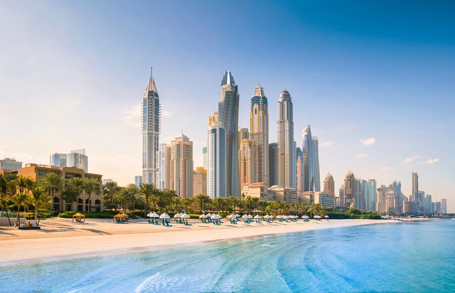 One and Only Royal Mirage Dubai taken from the beach front back to JBR