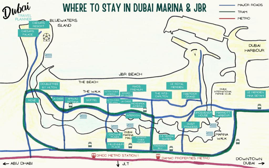 Dubai Accommodation Map JBR & Dubai Marina