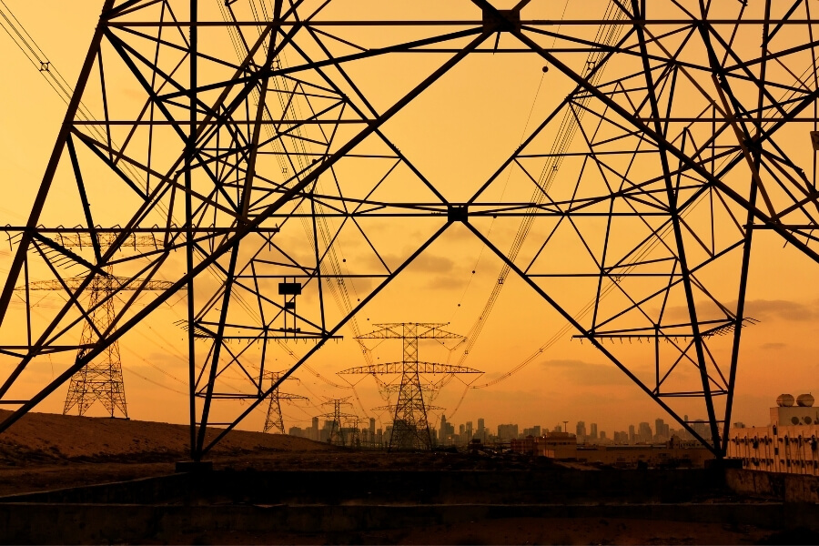 Power structures at sunset in Dubai