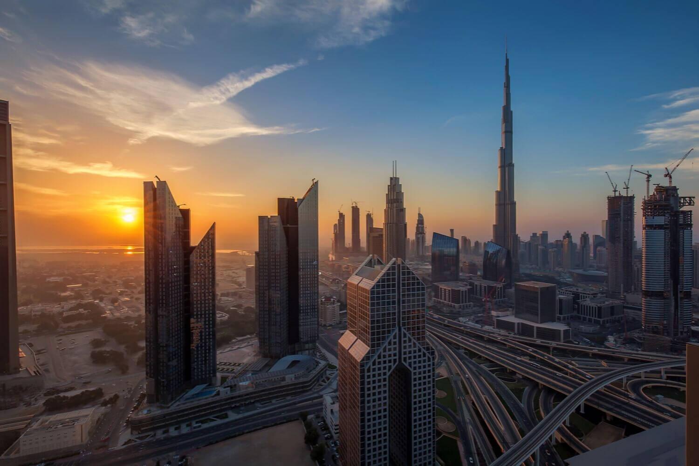 Dubai skyline sunrise