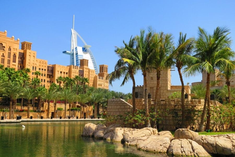 View the iconic Burj al Arab from Souk Mainat Jumeirah Dubai