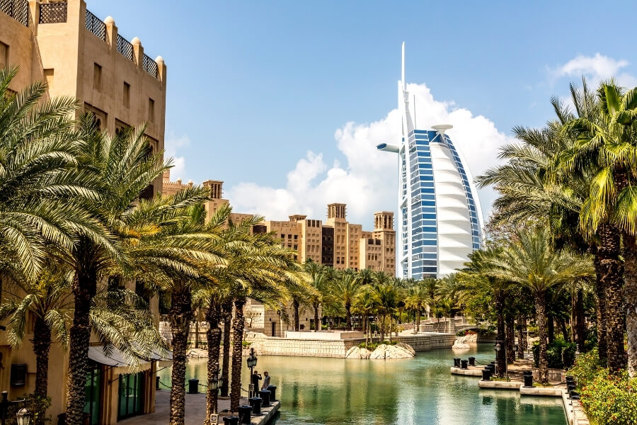 the iconic Burj al Arab in Dubai viewed from Souk Mainat Jumeirah