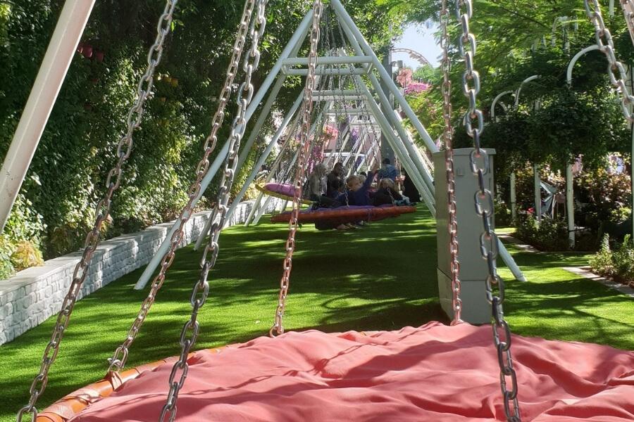 Dubai Miracle Garden - swinging chairs