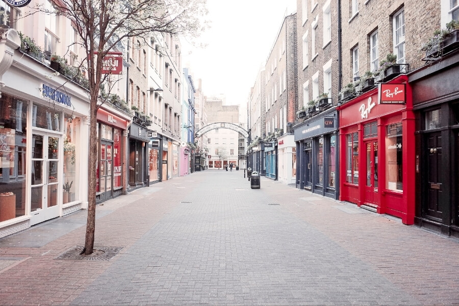 Quiet street in central london during lockdown