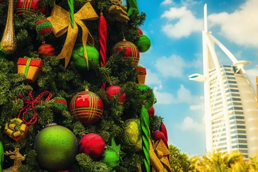 christmas tree in Dubai Burj Al Arab
