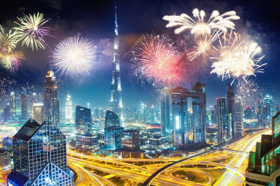 Fireworks over Burj Khalifa and Downtown Dubai