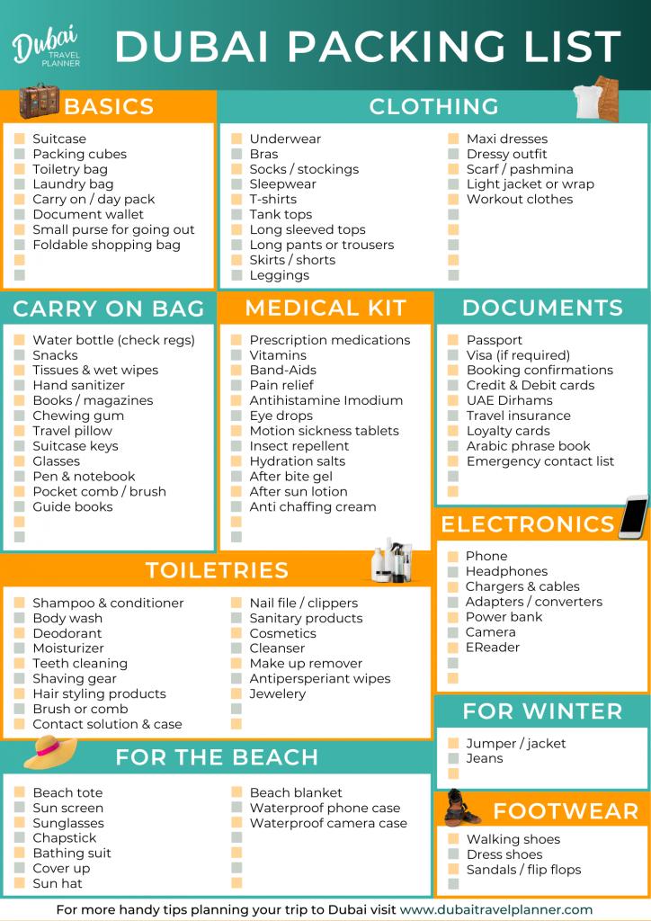 Dubai Travel Planner Packing List Printable