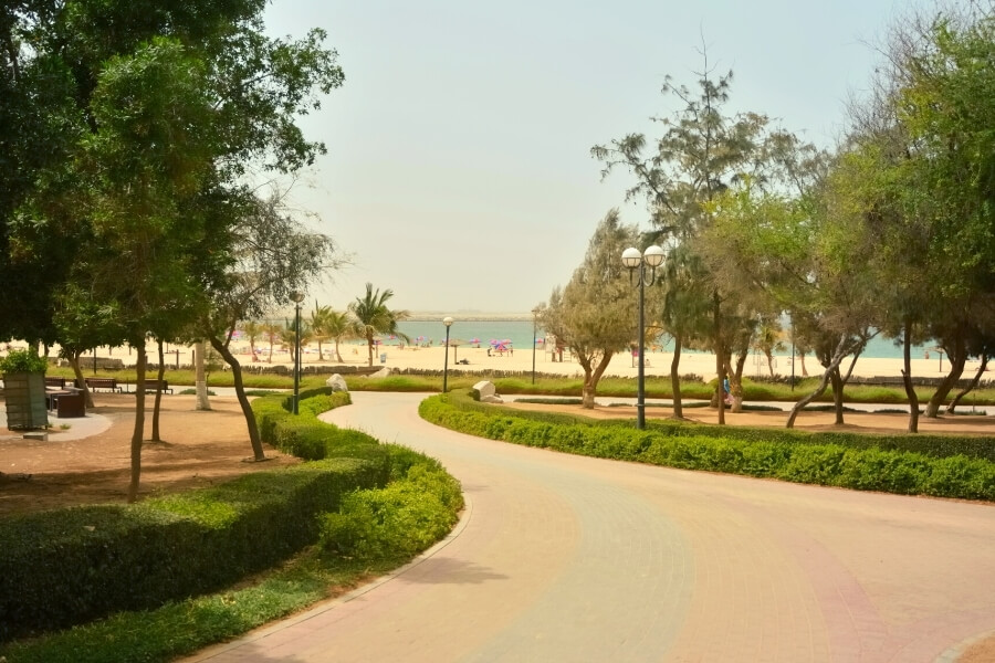 grassy lawns of Mamzar beach park