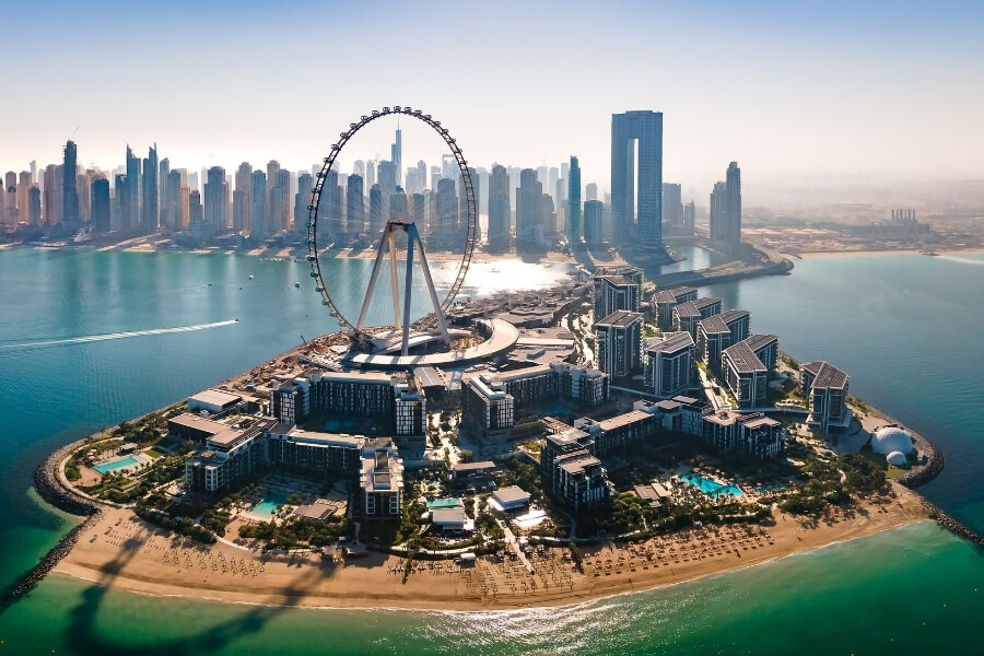 Bluewaters island Dubai overlooking Ain Dubai world's largest observation wheel