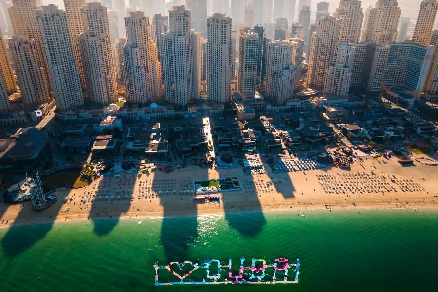 JBR Jumeirah Beach Residence in Dubai, an aeriel view over The Beach