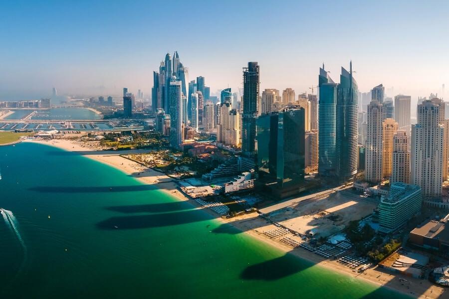 aerial view of JBR Dubai